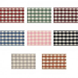 10mm x 4m Berisfords Natural Gingham Polyester Craft Ribbon
