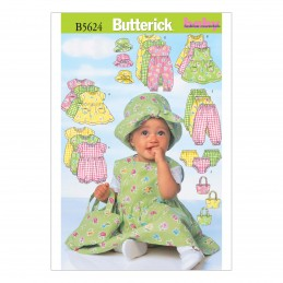 Butterick Sewing Pattern 5624 Toddlers Summer Outfits Dress Babygrow Trousers