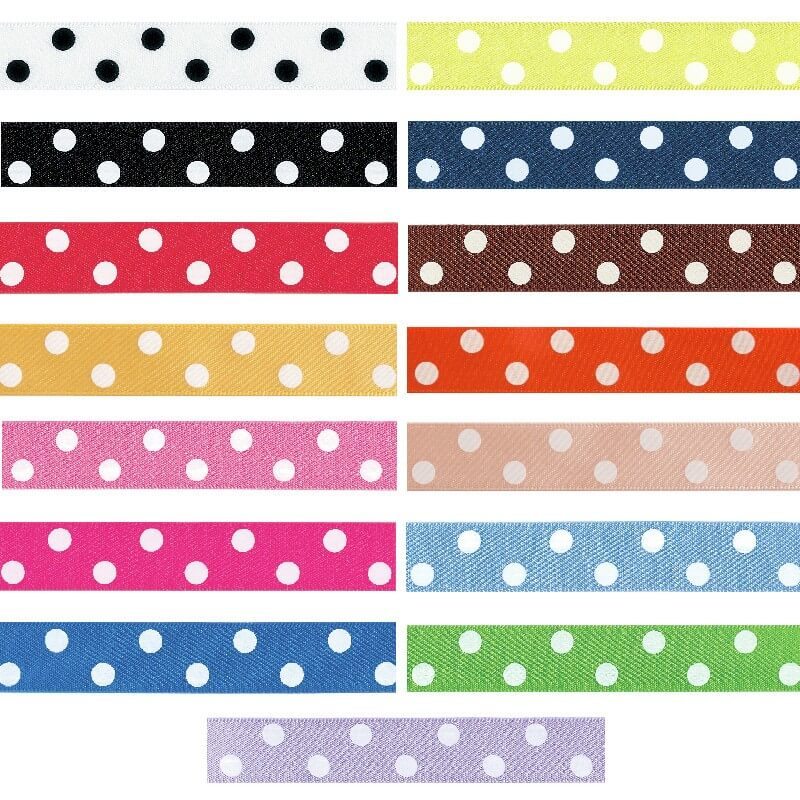 Black 15mm Berisfords Polka Dots Spots Ribbon Polyester Craft