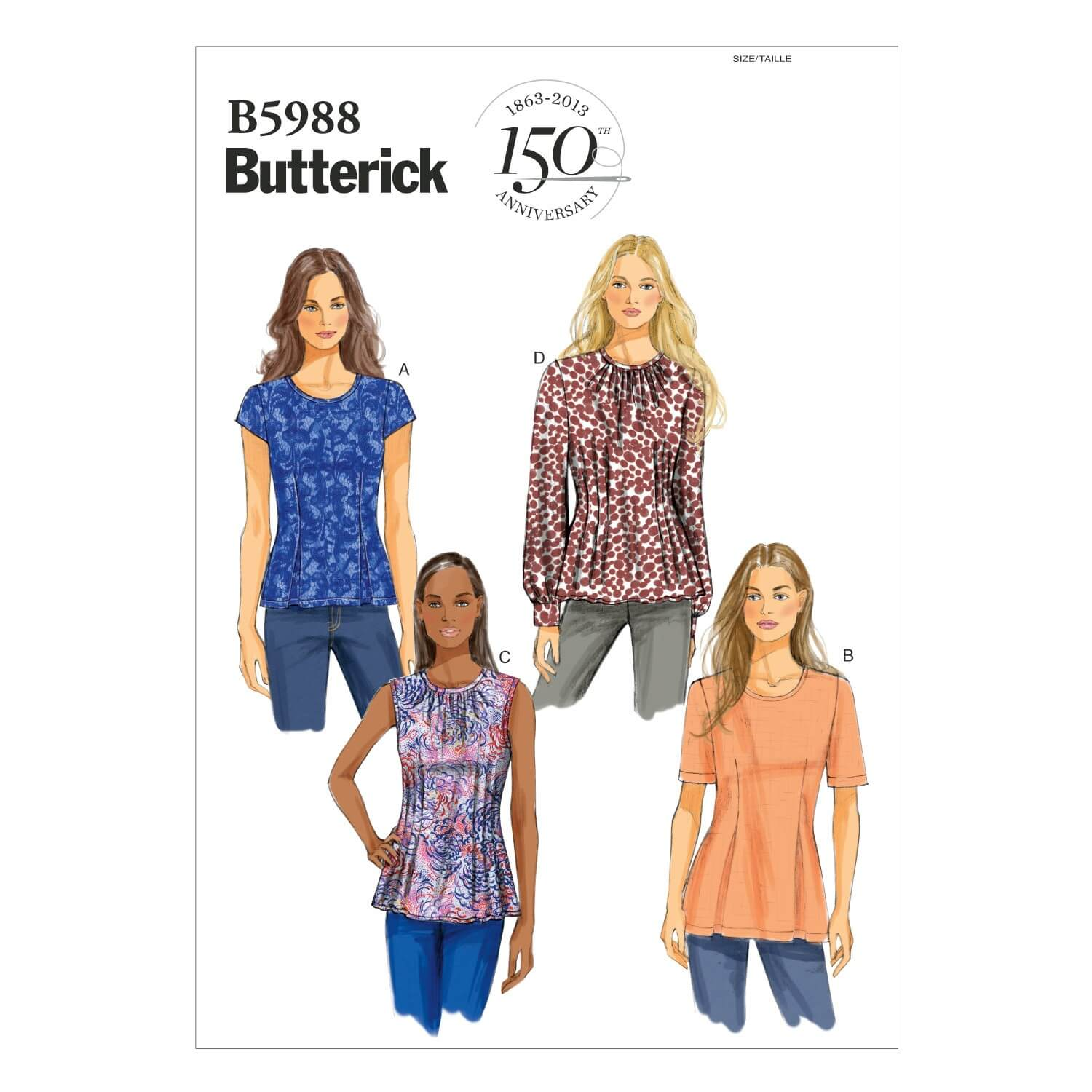 Butterick Sewing Pattern 5988 Women's Petite Tops