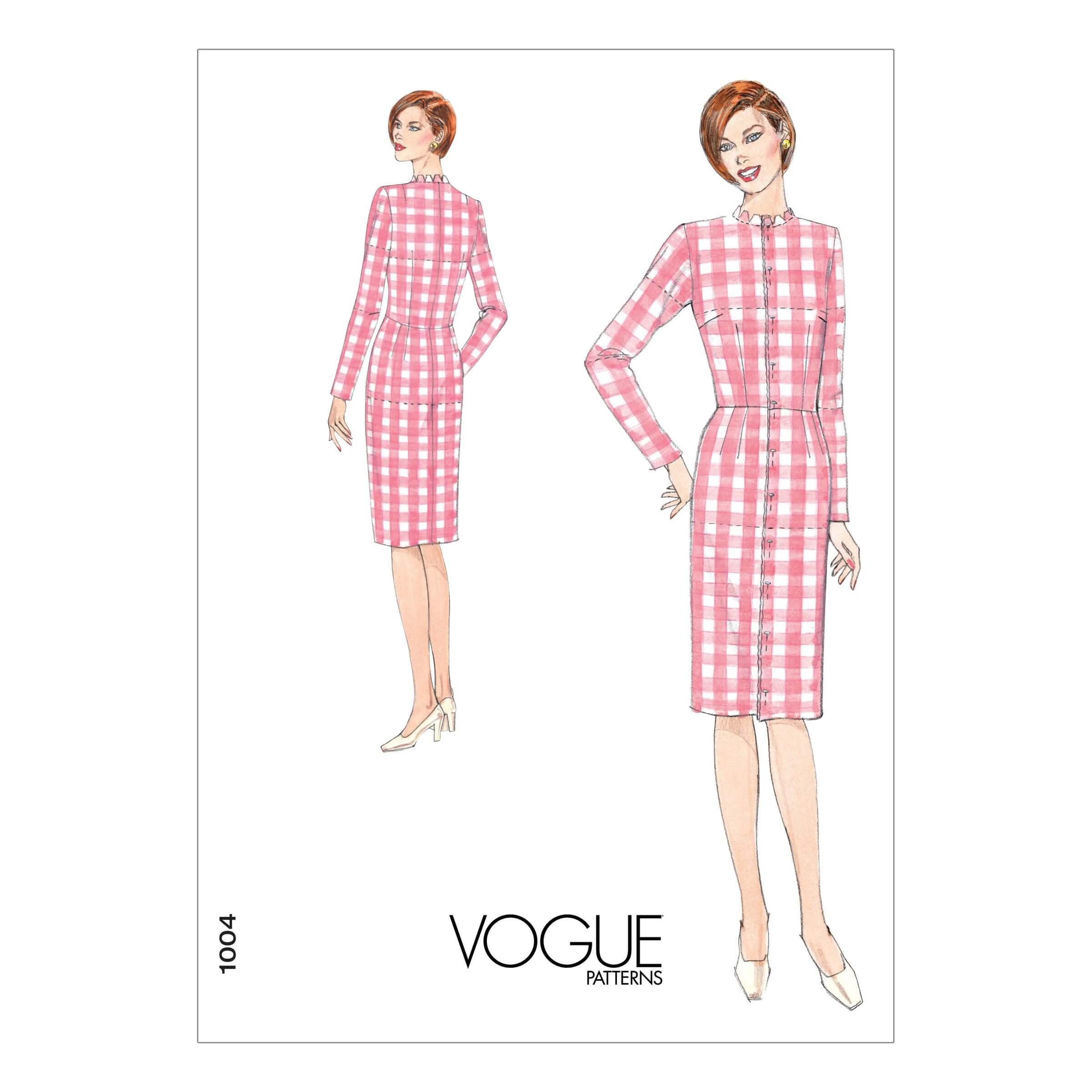Vogue Sewing Pattern V1004 Women's Slim Fit Dress Fitting Shell