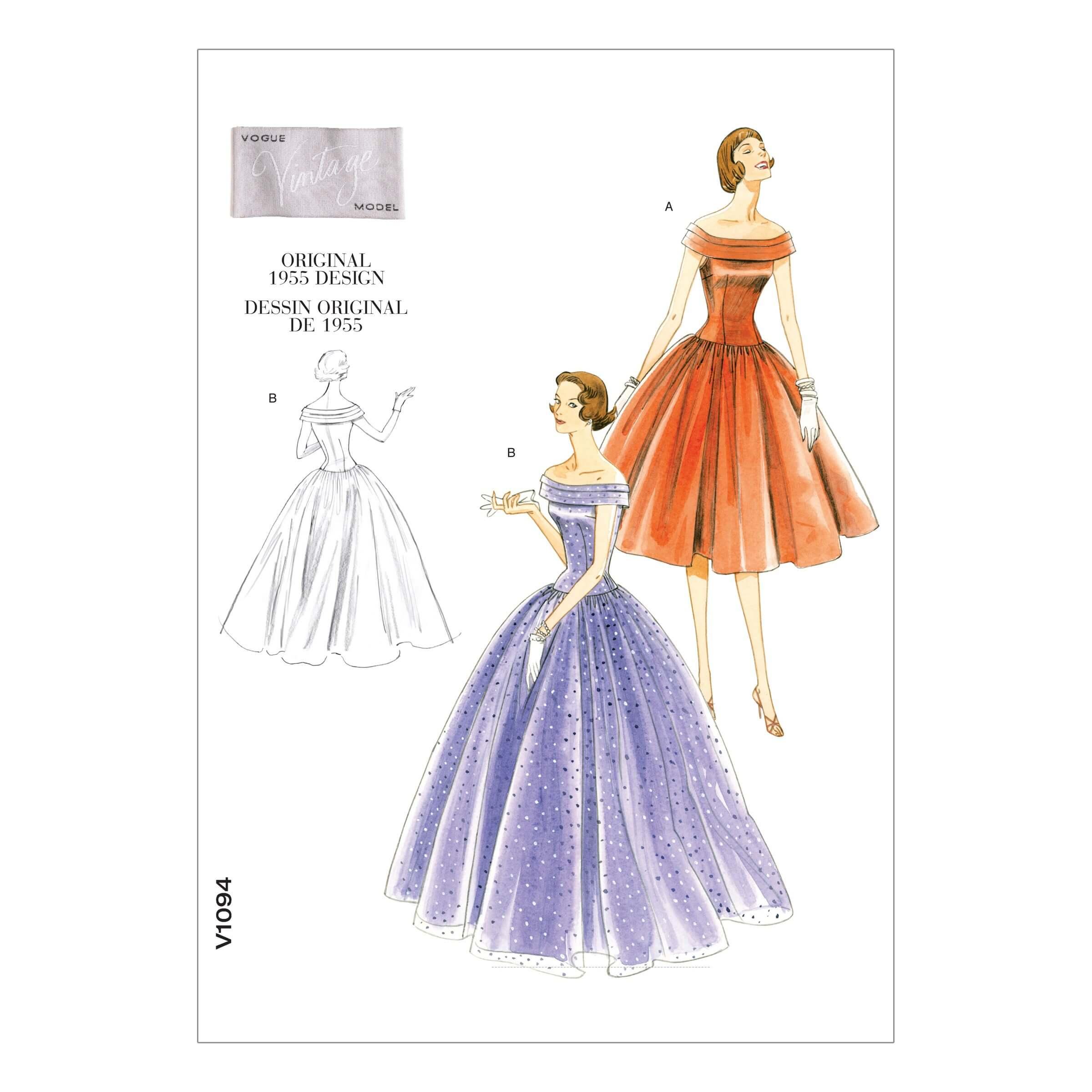Vogue Sewing Pattern V1094 Women's Vintage 1950s Ballgown Dress Occasion
