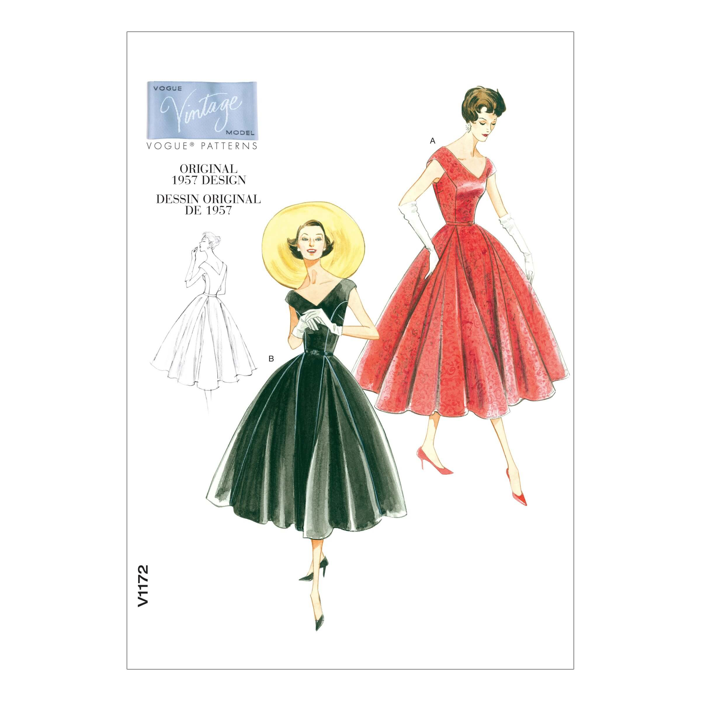 Vogue Sewing Pattern V1172 Women's Vintage 1950s Dress Flared Calf Length
