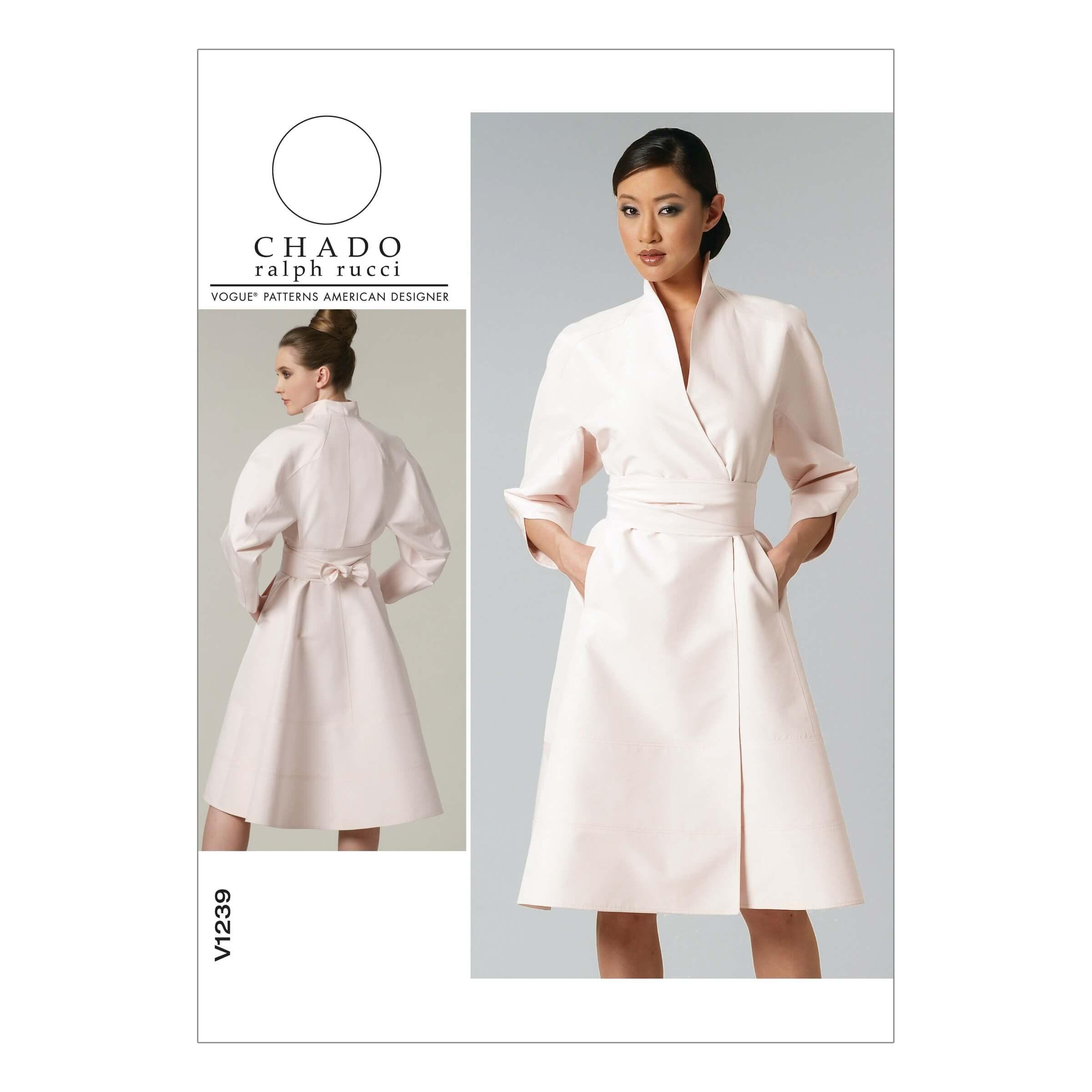 Vogue Sewing Pattern V1239 Women's Wrap Dress Jacket Style with Belt