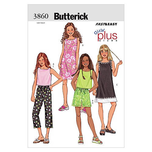 Butterick Sewing Pattern 3860 Children's Summer Strappy Top Shorts & Trousers