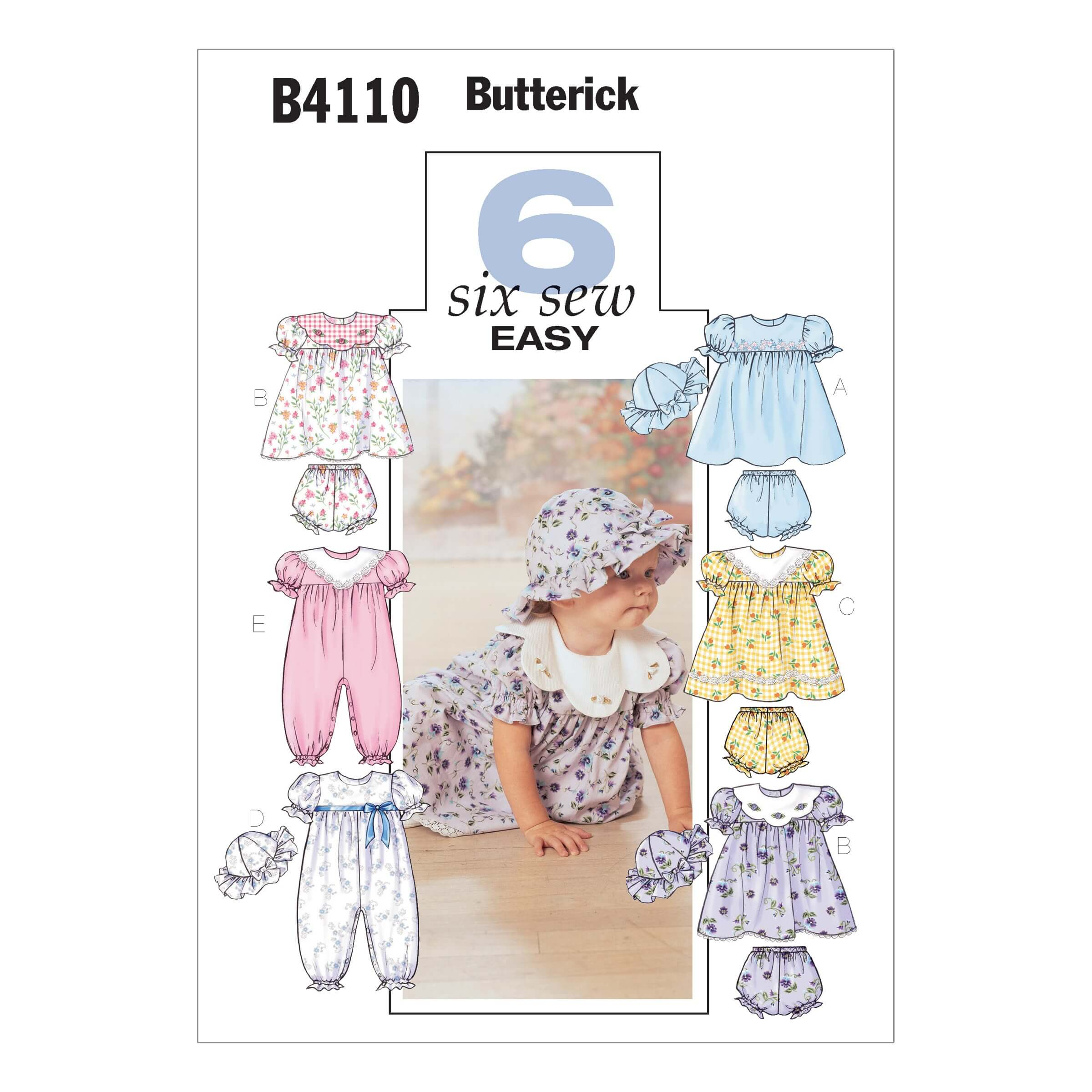 Butterick Sewing Pattern 4110 Baby Cute Dress Babygrow Hat & Trousers