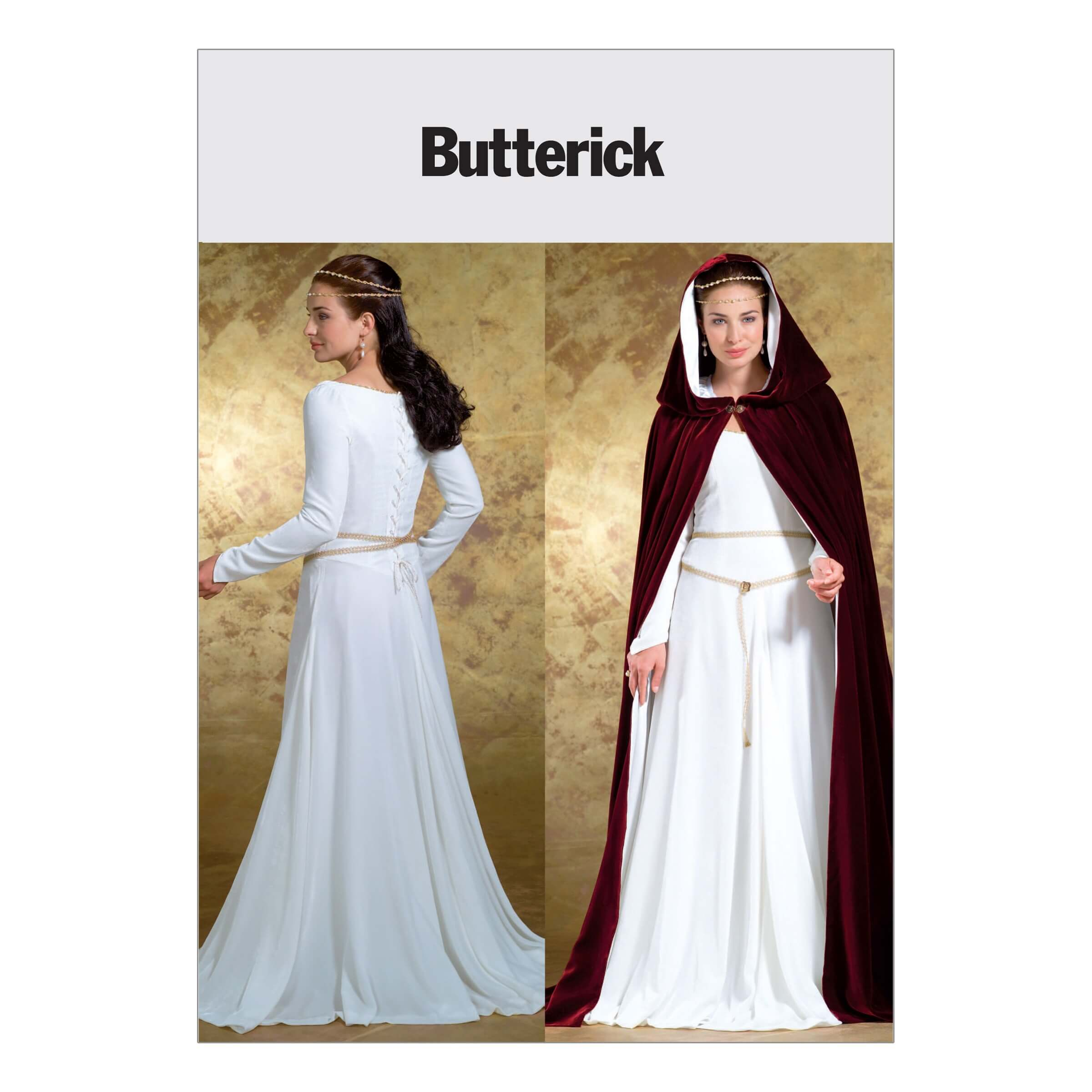 Butterick Sewing Pattern 4377 Misses' Fantasy Maiden Costume Dress Cape
