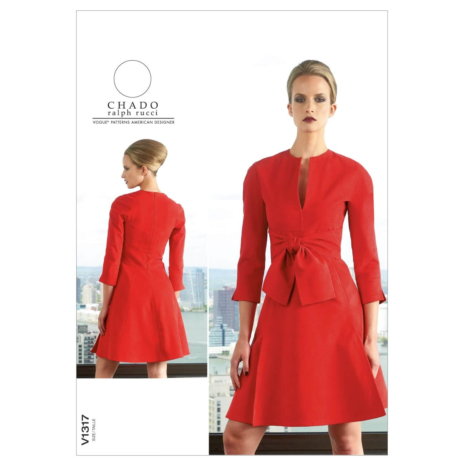 Vogue Sewing Pattern V1317 Women's Fit Flare Dress with Low Slit Neckline