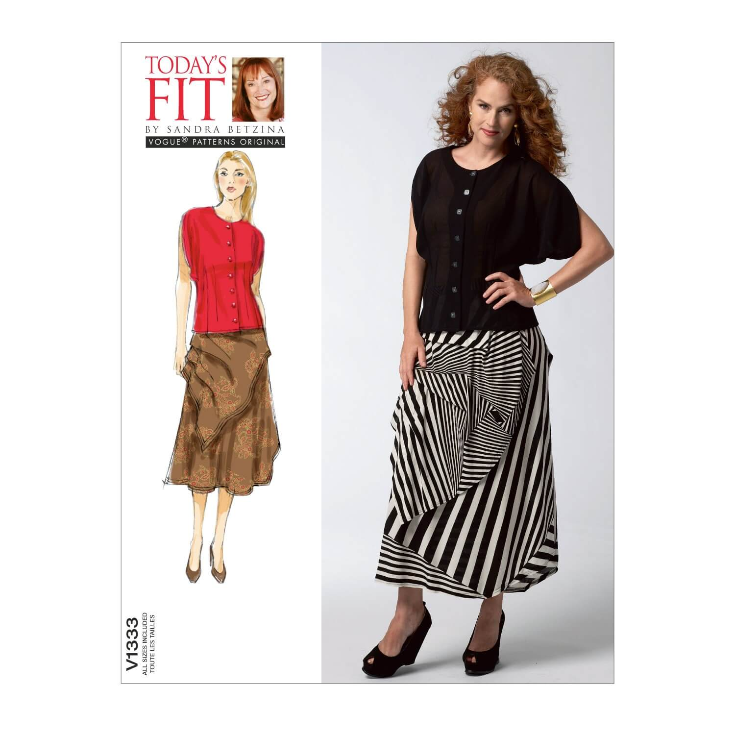 Vogue Sewing Pattern V1333 Women's Loose Blouse and Gathered Skirt