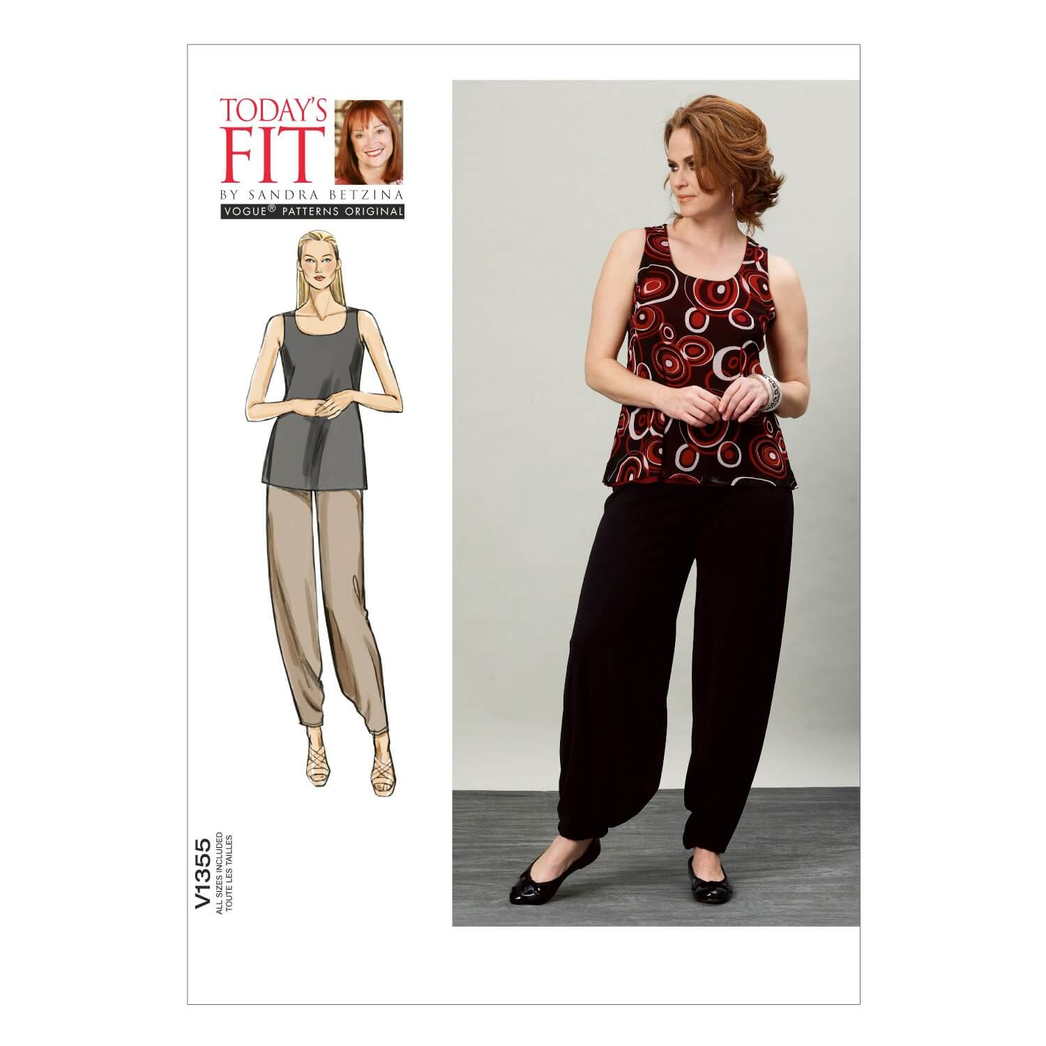 Vogue Sewing Pattern V1355 Women's Vest Top and Loose Fit Trousers