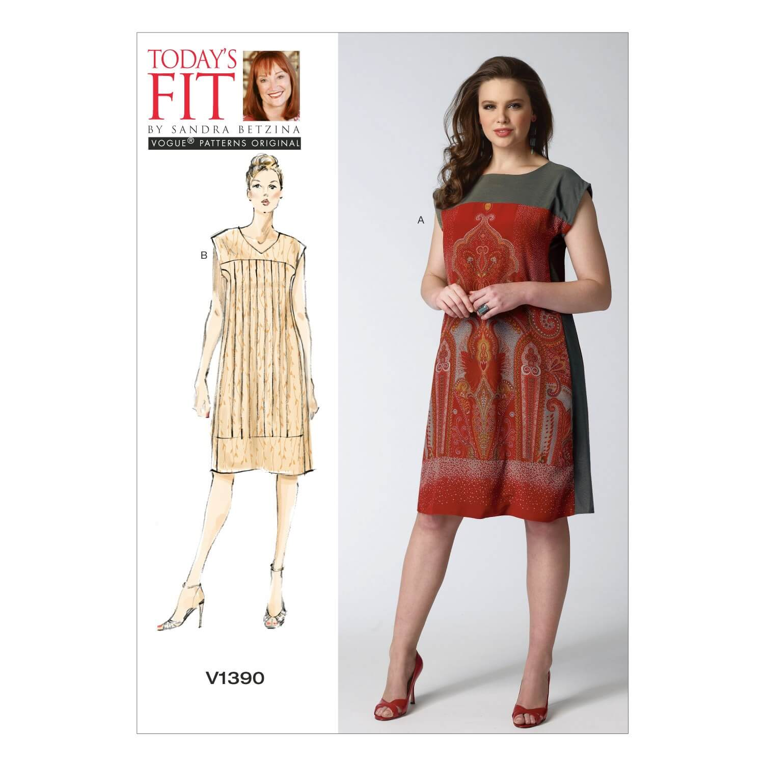 Vogue Sewing Pattern V1390 Women's Pullover Straight Panel Dress
