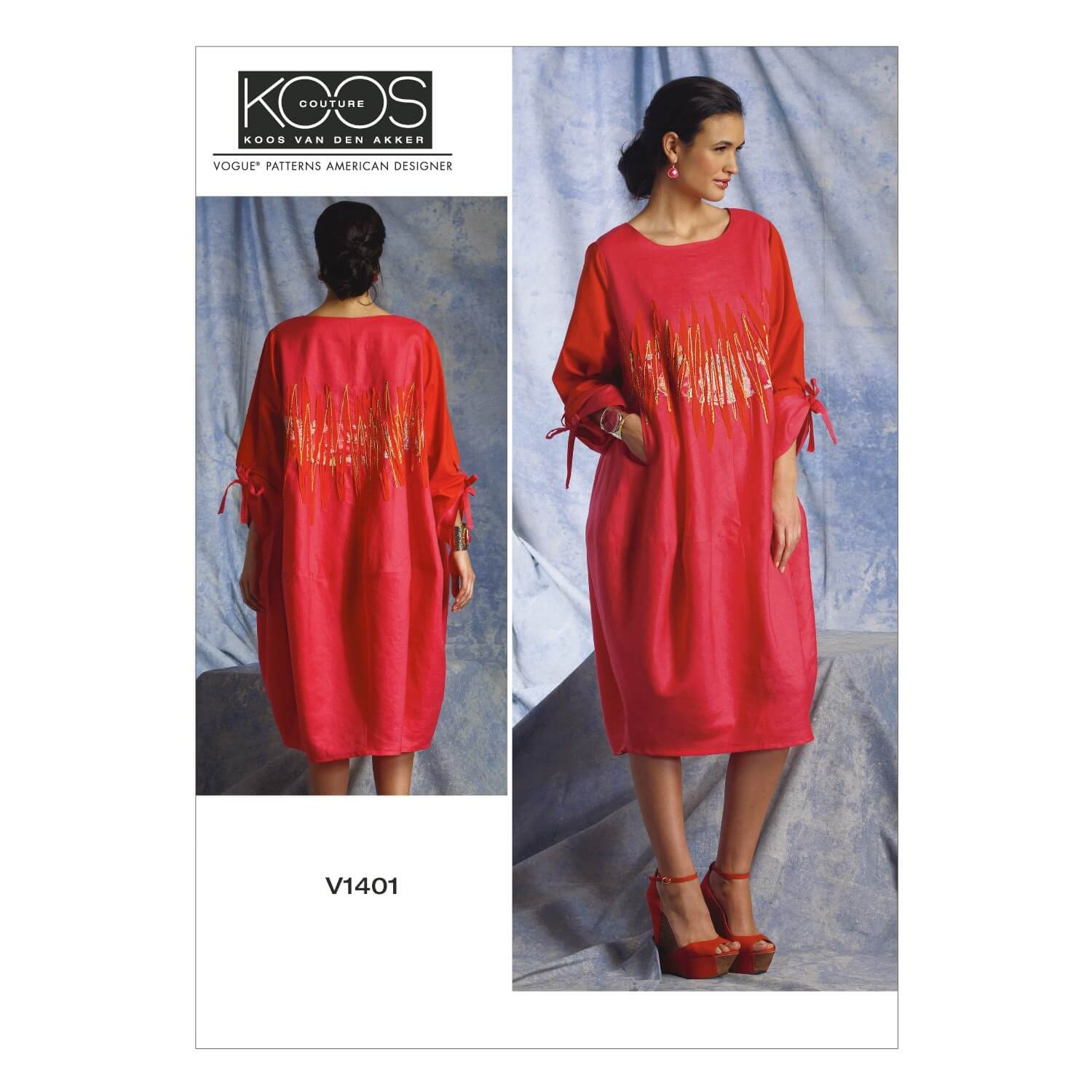 Vogue Sewing Pattern V1401 Women's Pullover Dress with Tie Sleeves