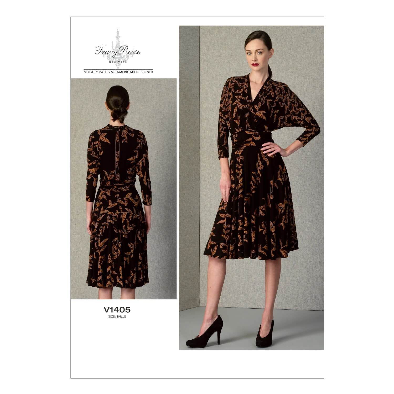 Vogue Sewing Pattern V1405 Women's Pullover Mock Wrap Dress