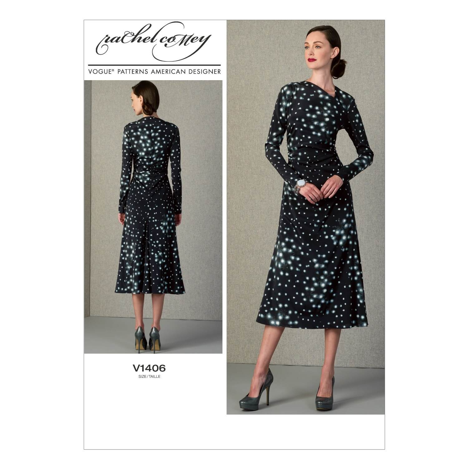 Vogue Sewing Pattern V1406 Women's Gathered Side Dress Mid Calf