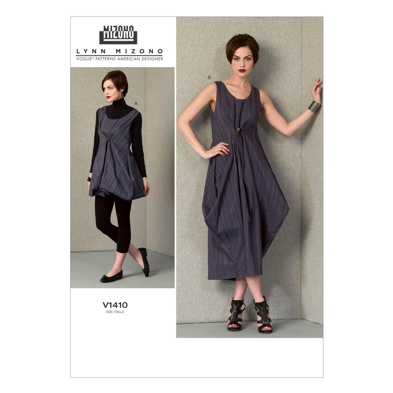 Vogue Sewing Pattern V1406 Women's Adjustable Length Gathered Dress