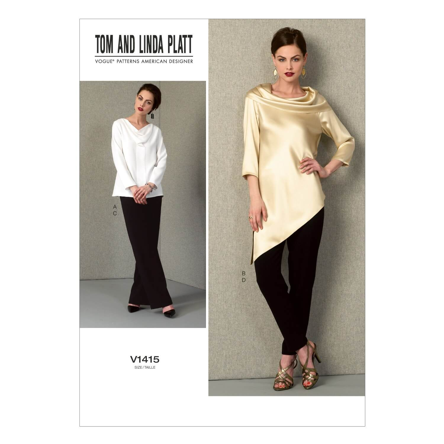 Vogue Sewing Pattern V1415 Women's Cowl Neck Tops and Slim Trousers
