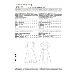 Vogue Sewing Pattern V1422 Women's Fit and Flare V-neck Dress