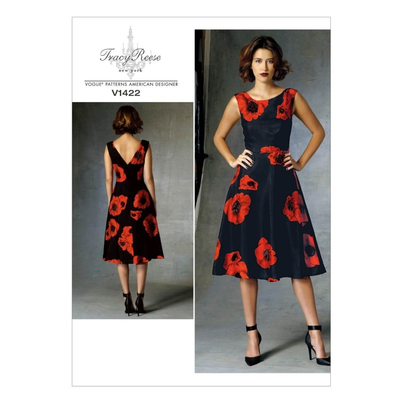 a535c6839e Vogue Sewing Pattern V1422 Women s Fit and Flare V-neck Dress