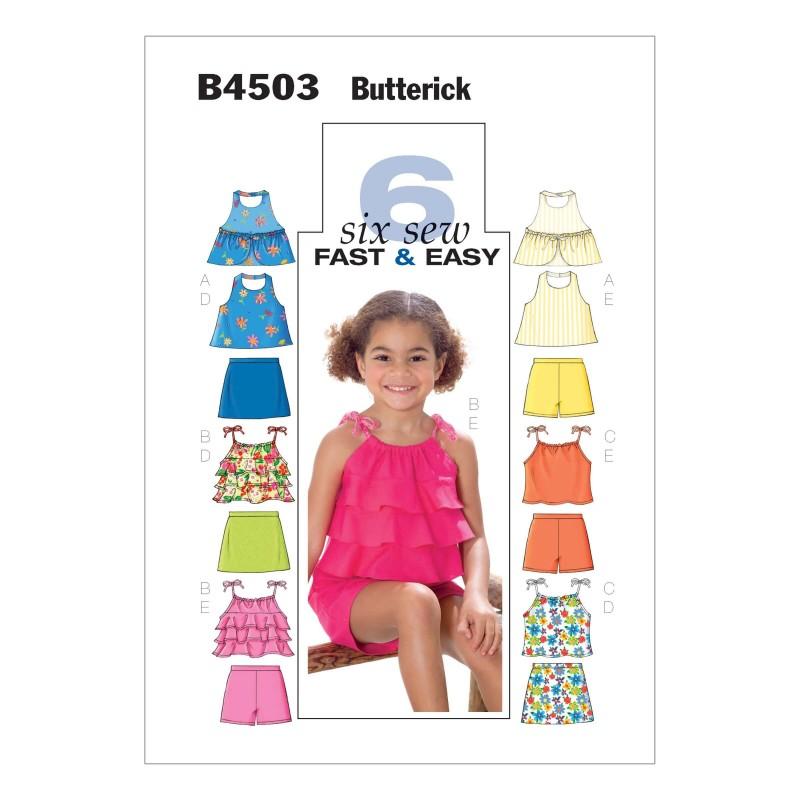 Butterick Sewing Pattern 4503 Children's Top Skort & Shorts
