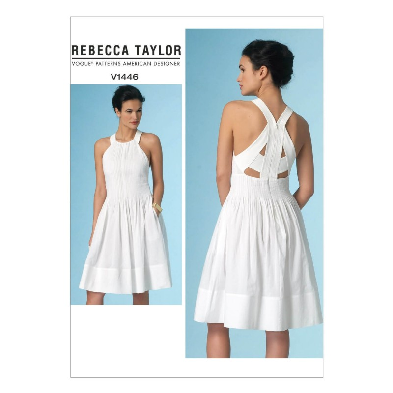 Vogue Sewing Pattern V1446 Women's Skater Dress with Pleats and Back Detail