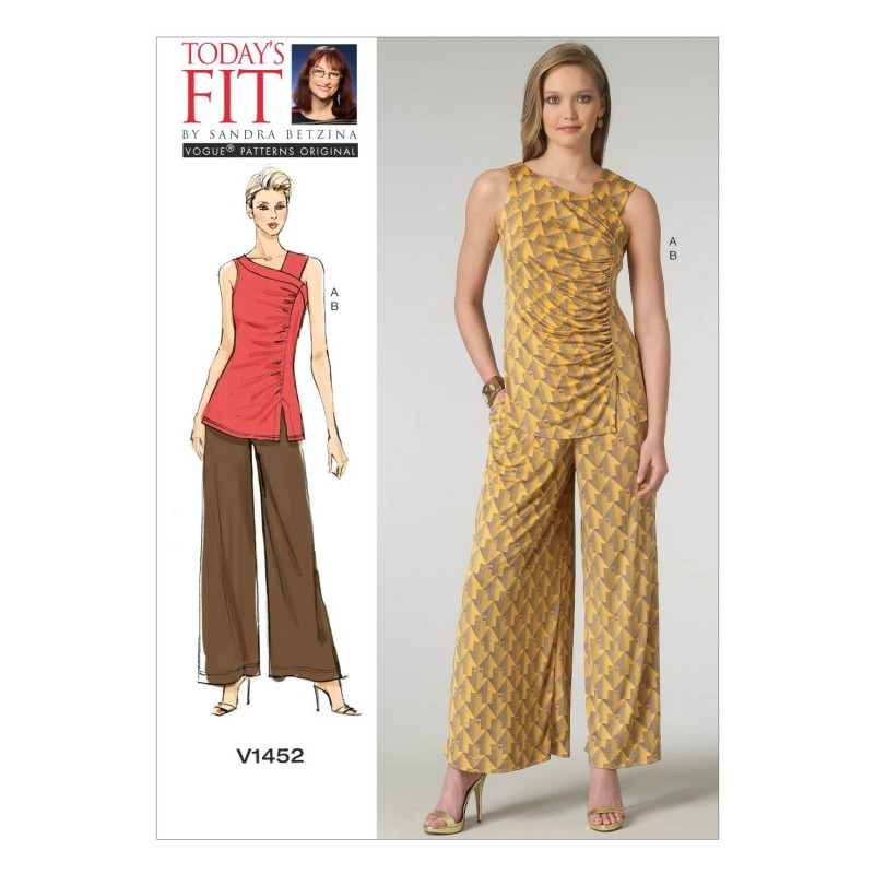 Vogue Sewing Pattern V1452 Women's Ruched Top and Wide Leg Trousers