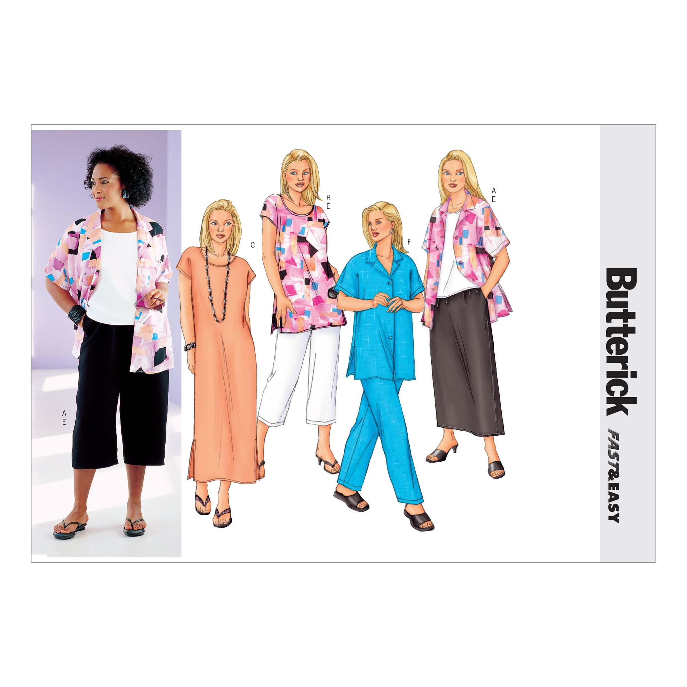 Butterick Sewing Pattern 3039 Women's Petite Shirt Tunic Dress Skirt Trousers