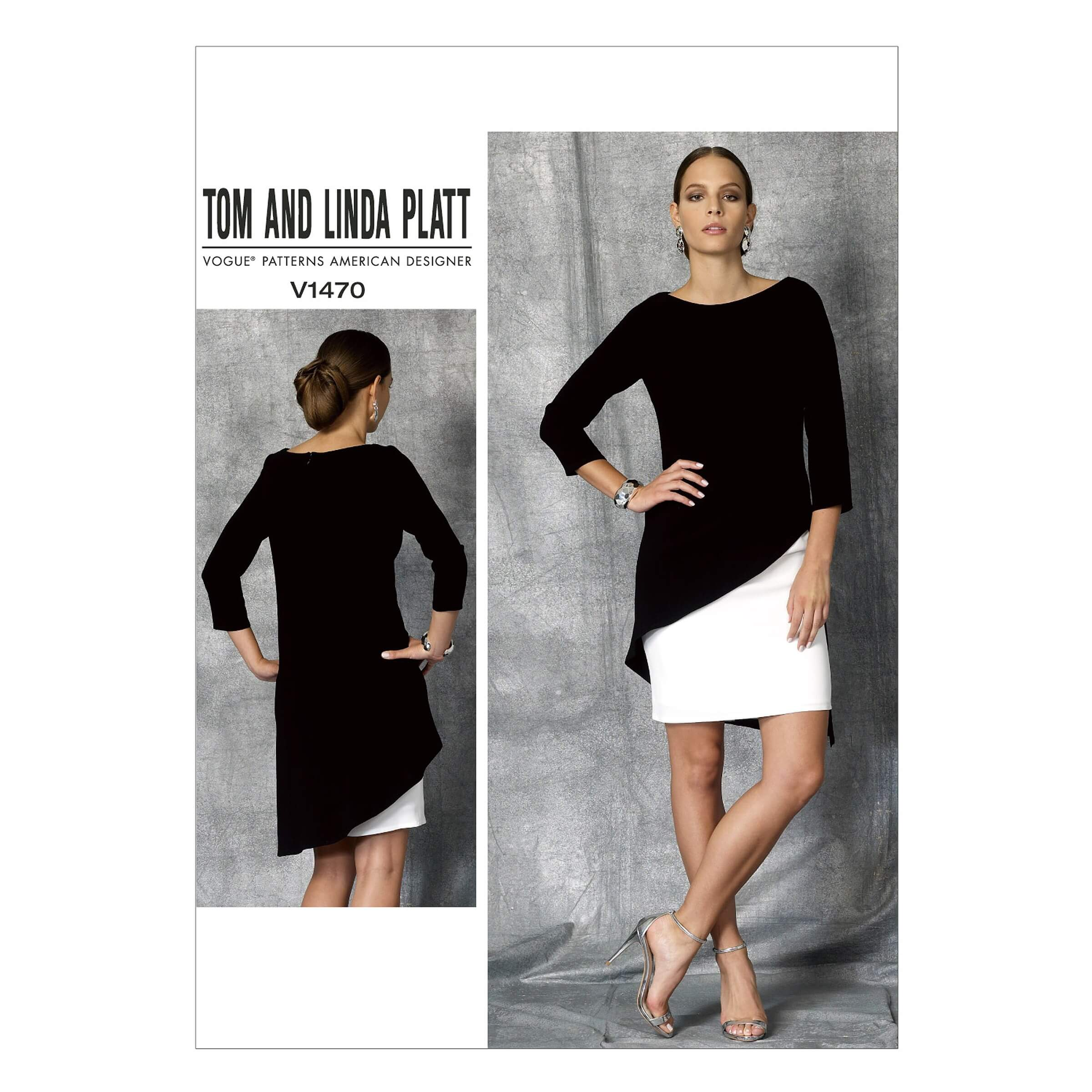 Vogue Sewing Pattern V1470 Women's Dress with Two Tone Asymmetric Overlay