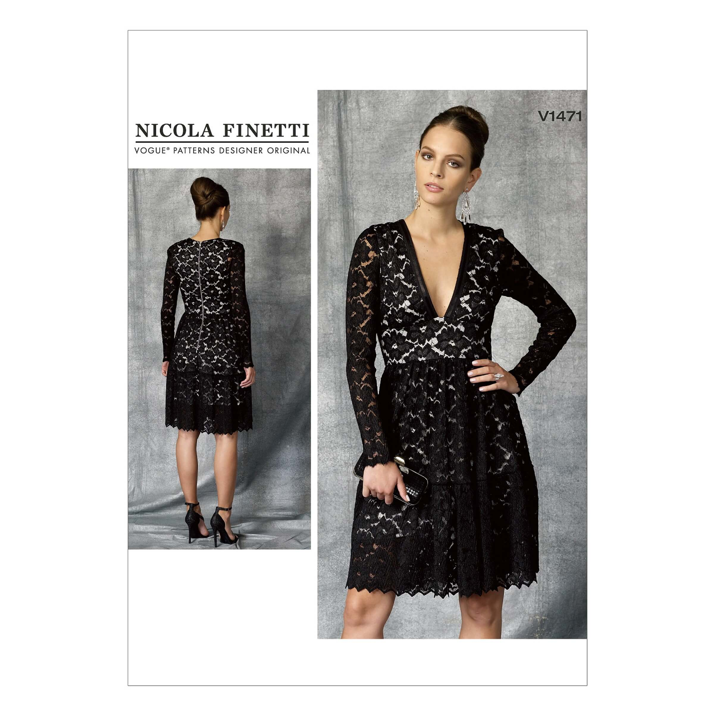 Vogue Sewing Pattern V1471 Women's Dress with Lace Overlay and Plunge V Neck