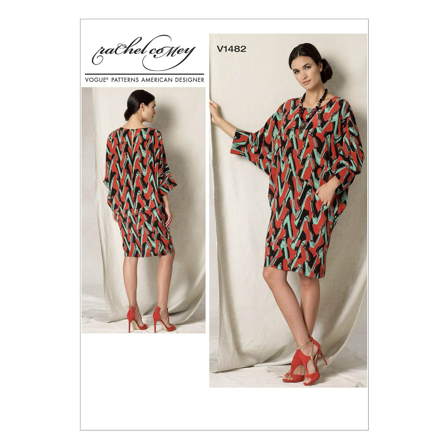 Vogue Sewing Pattern V1482 Women's Batwing Dolman Sleeve Dress