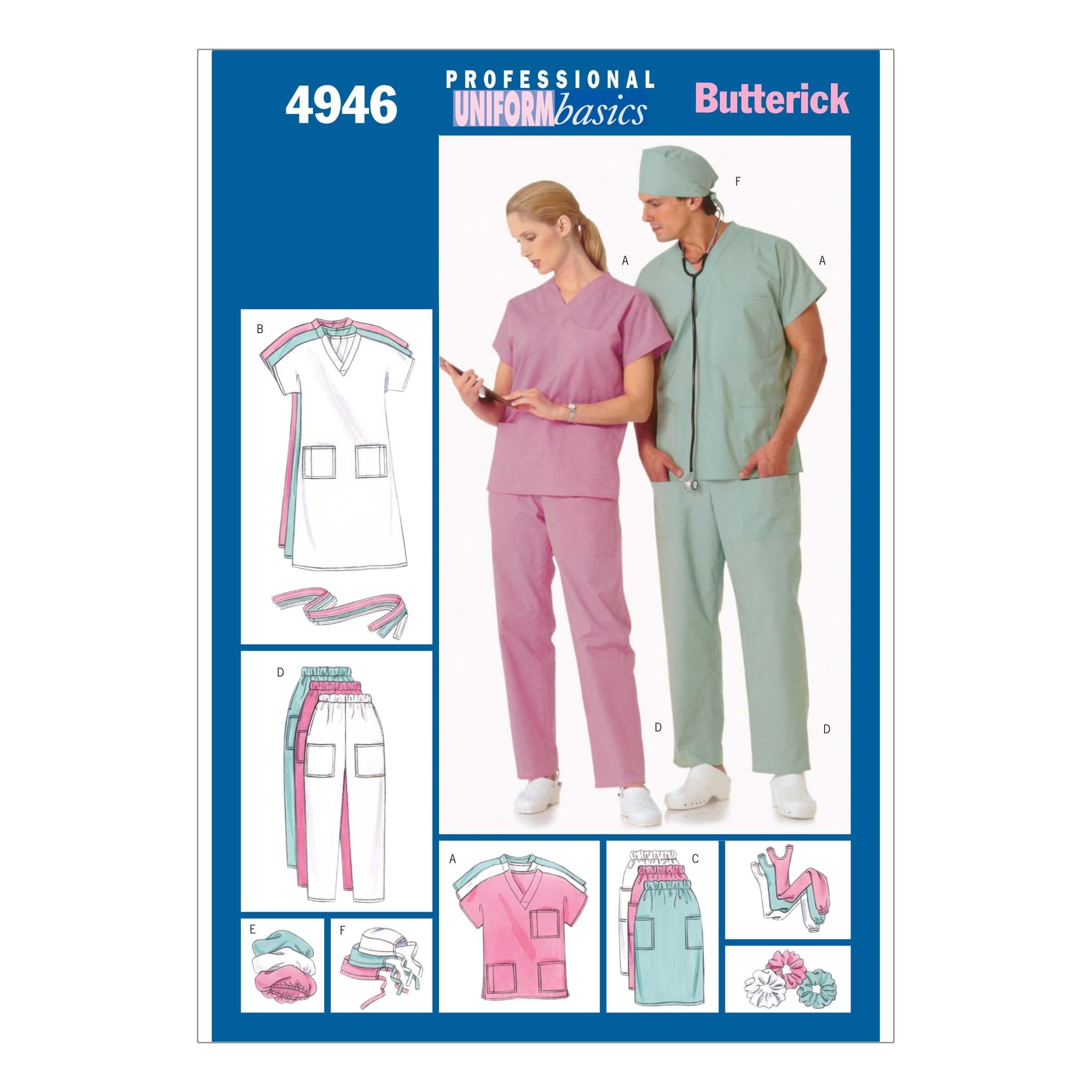Butterick Sewing Pattern 4946 Unisex Nurse Uniforms Dress Top Skirt Trousers