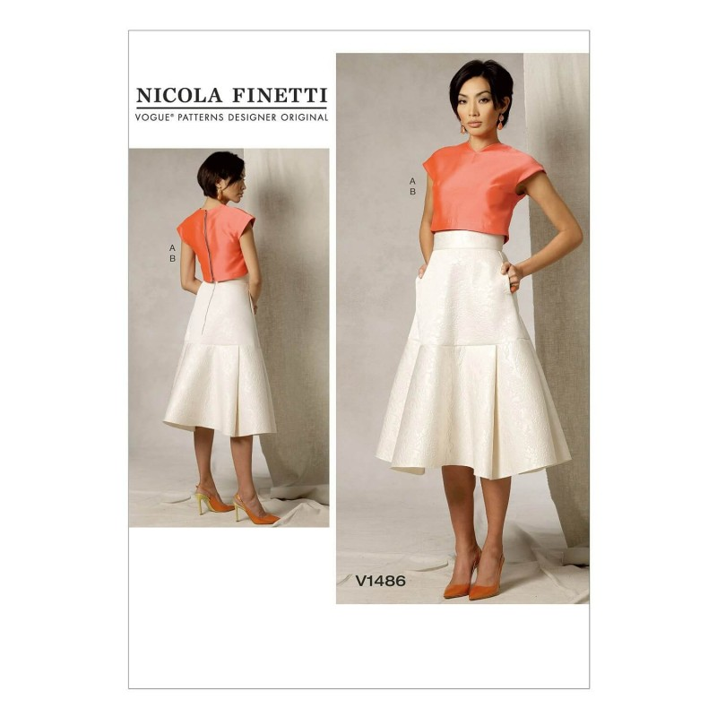 Vogue Sewing Pattern V1486 Women's Crop Top and Yoke Flare Skirt