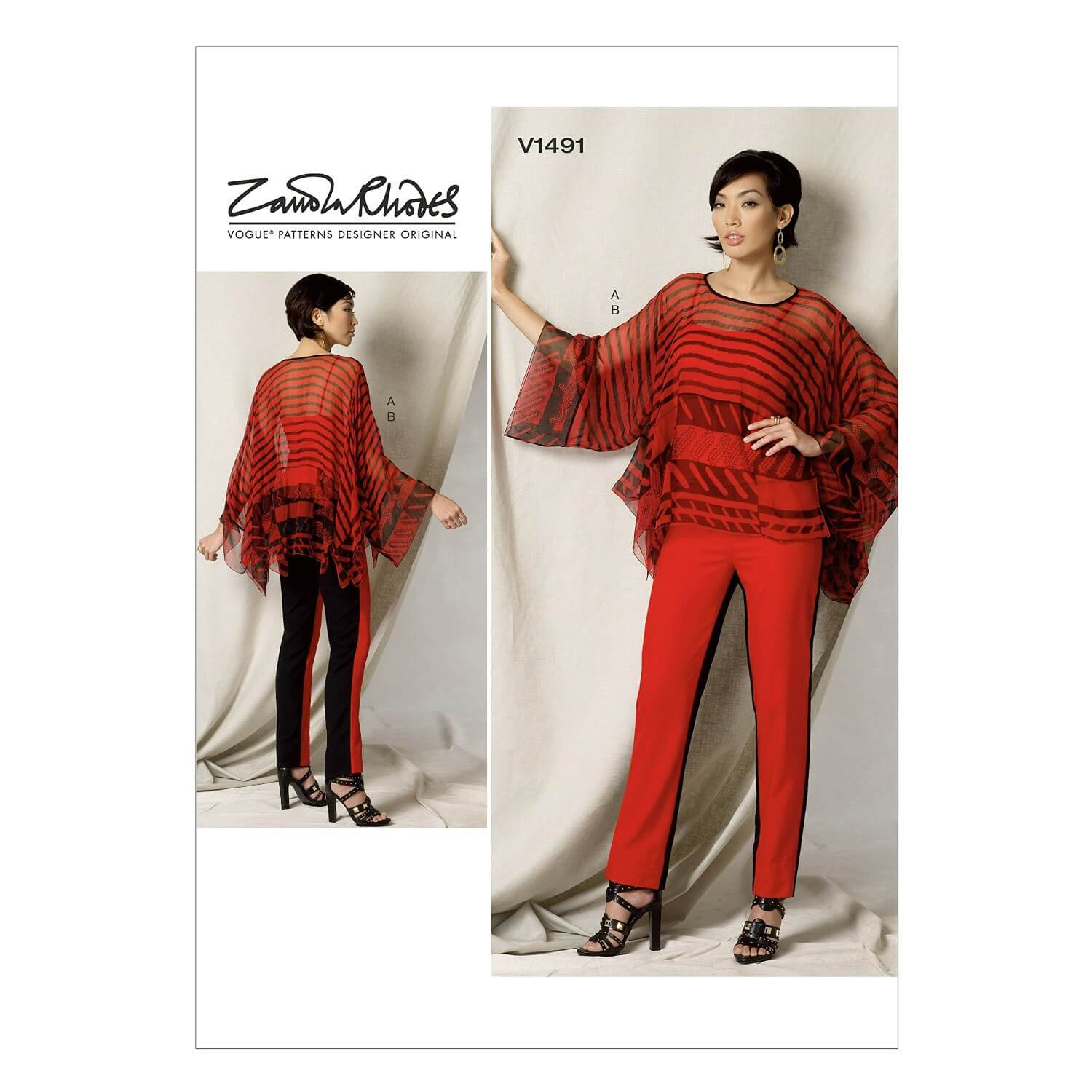 Vogue Sewing Pattern V1491 Women's Handkerchief Tunic and Two Tone Trousers