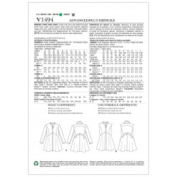 Vogue Sewing Pattern V1494 Women's High Collar and Waist Jacket and Vest
