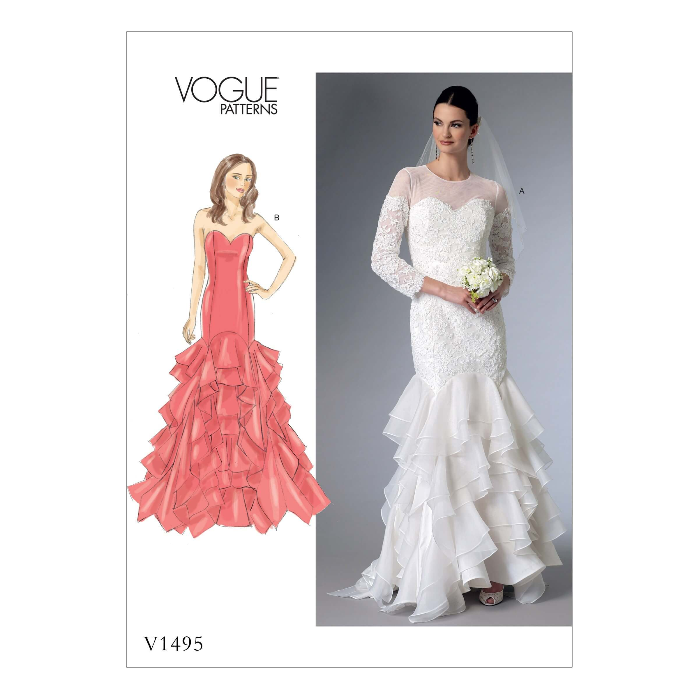 Vogue Sewing Pattern V1495 Women's Sweatheart Gown Dress with Flounce Skirt