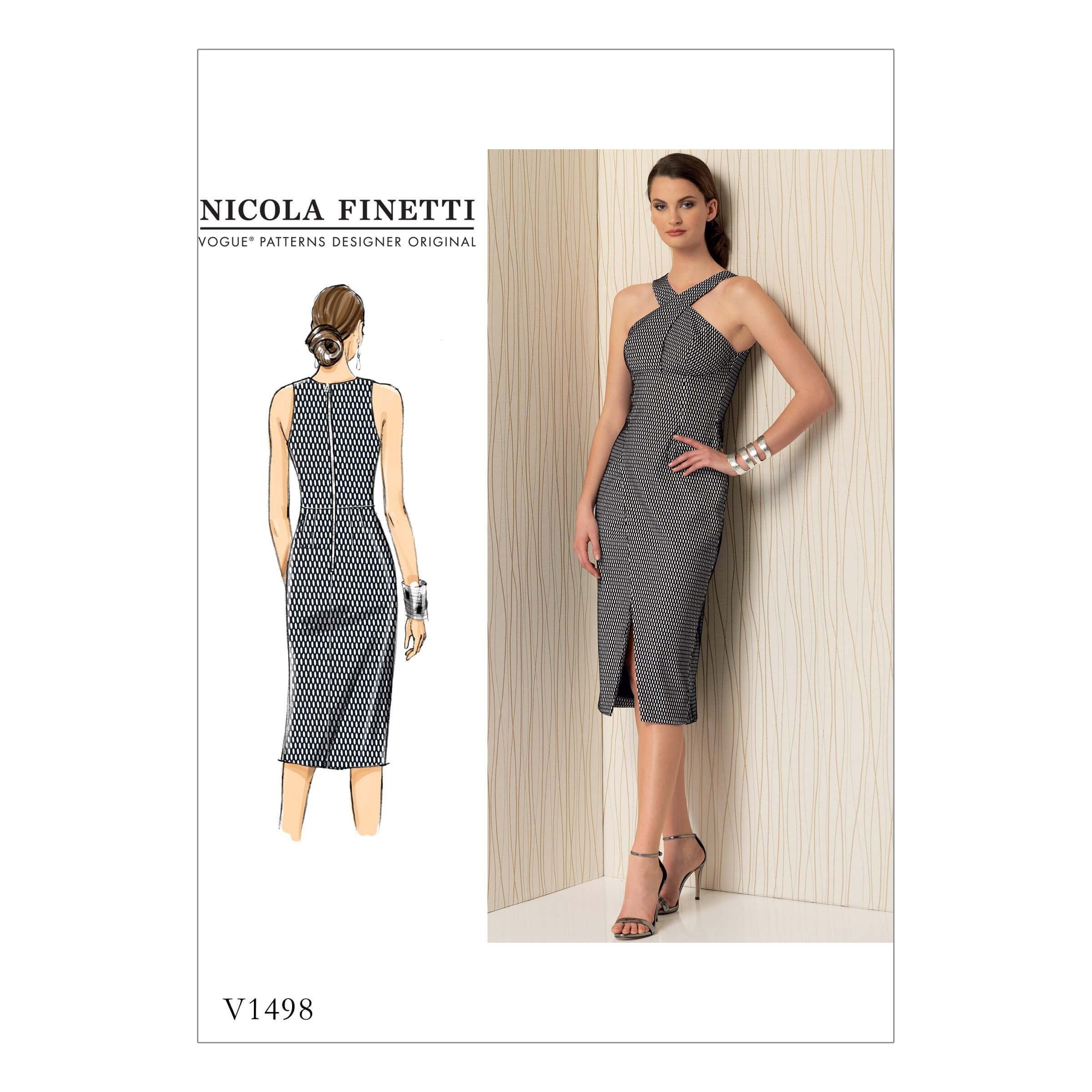 Vogue Sewing Pattern V1498 Women's Pencil Dress Cross Panel Detail
