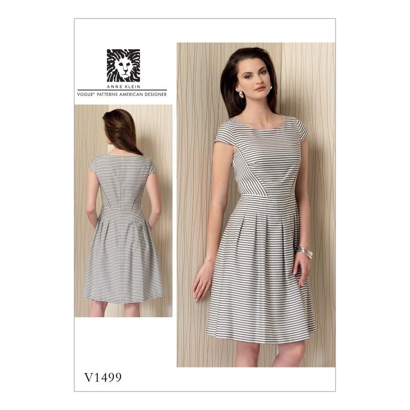 Vogue Sewing Pattern V1499 Women's Cap Sleeve Pleated Skirt Dress