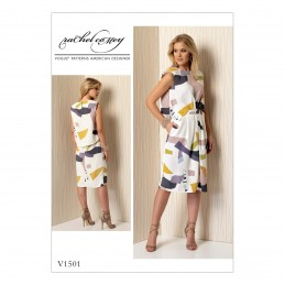 Vogue Sewing Pattern V1501 Women's Mock Tuck Pleated Dress