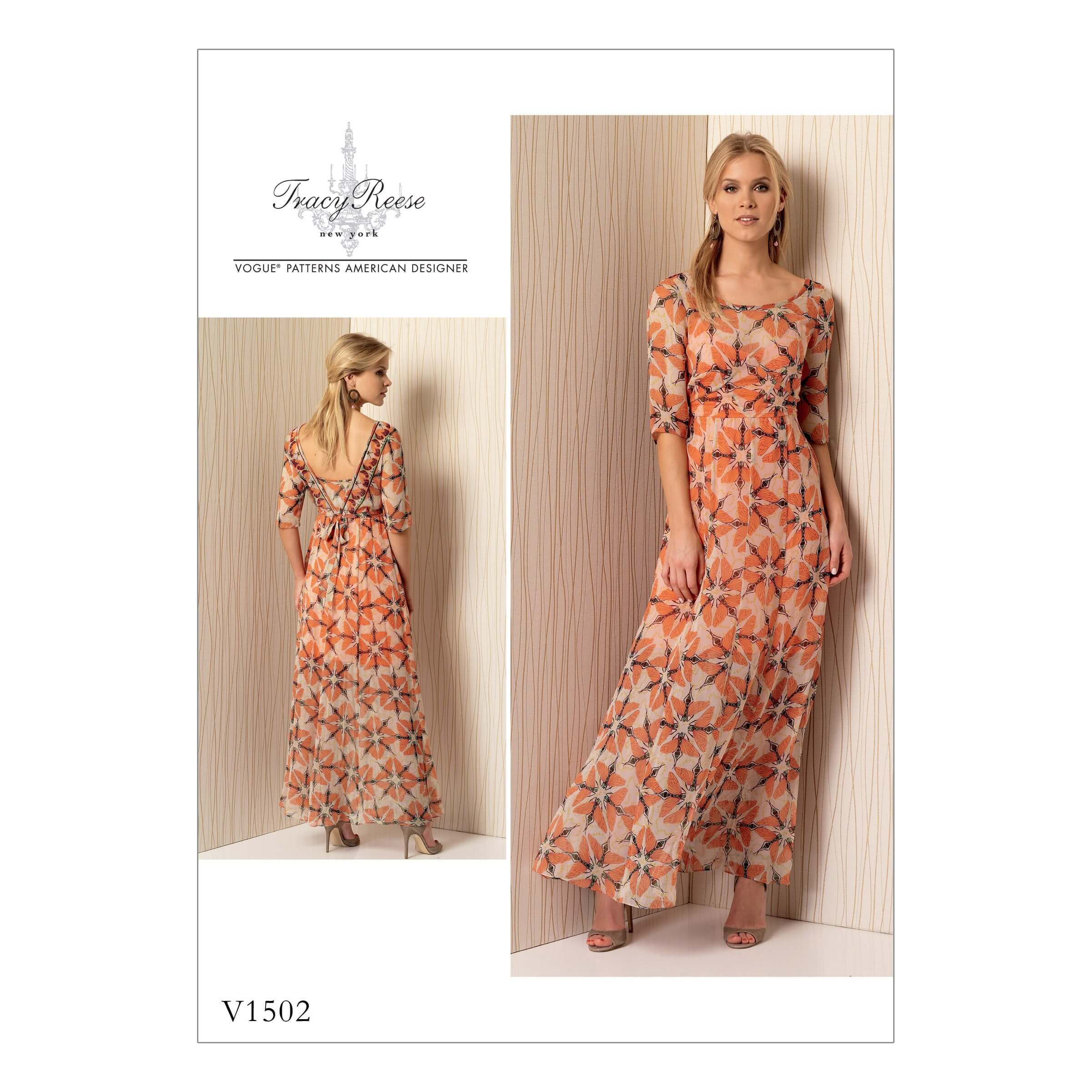 Vogue Sewing Pattern V1502 Women's Lined Maxi Dress with V Back