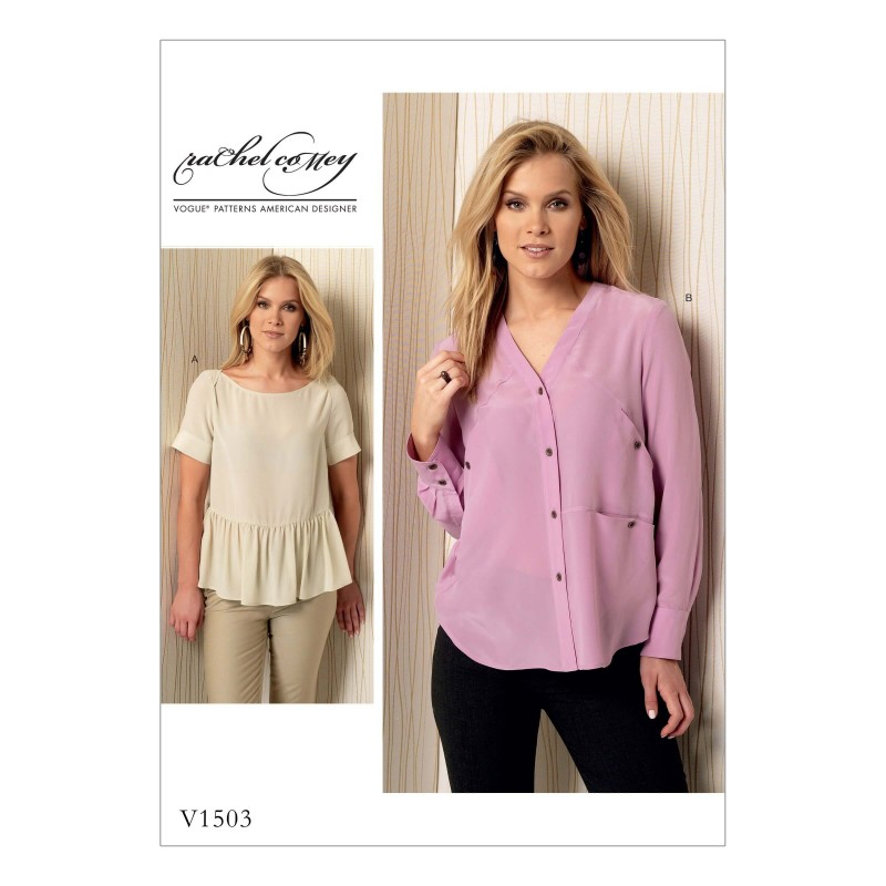 Vogue Sewing Pattern V1503 Women's Ruffle and Pocket Detail Shirt Top Blouse