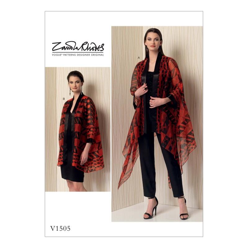 Vogue Sewing Pattern V1505 Women's Loose Fit Kimono Style Jacket Cardigan