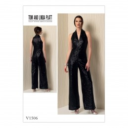 Vogue Sewing Pattern V1506 Women's Halterneck Wide Leg Jumpsuit
