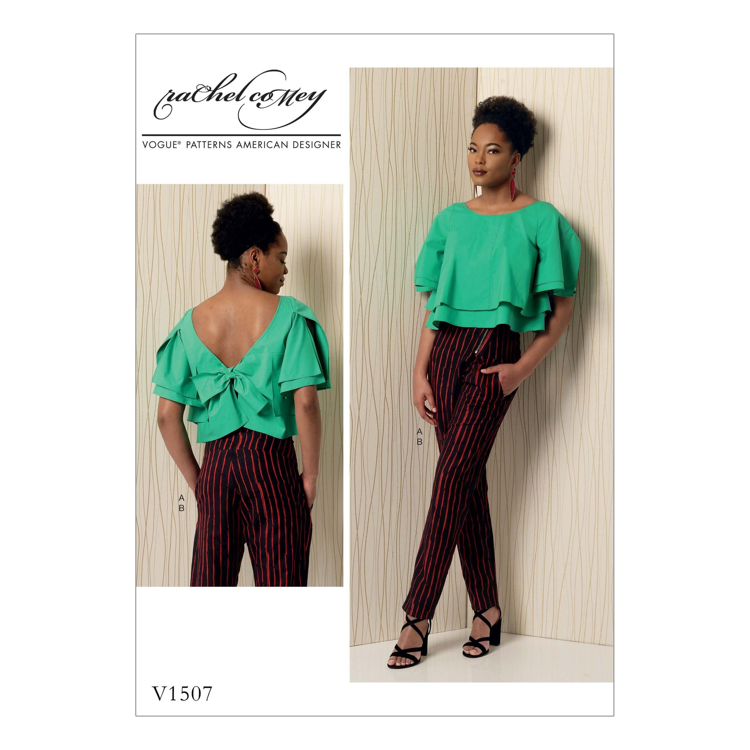 Vogue Sewing Pattern V1507 Women's Layered Top Blouse and Slim Trousers