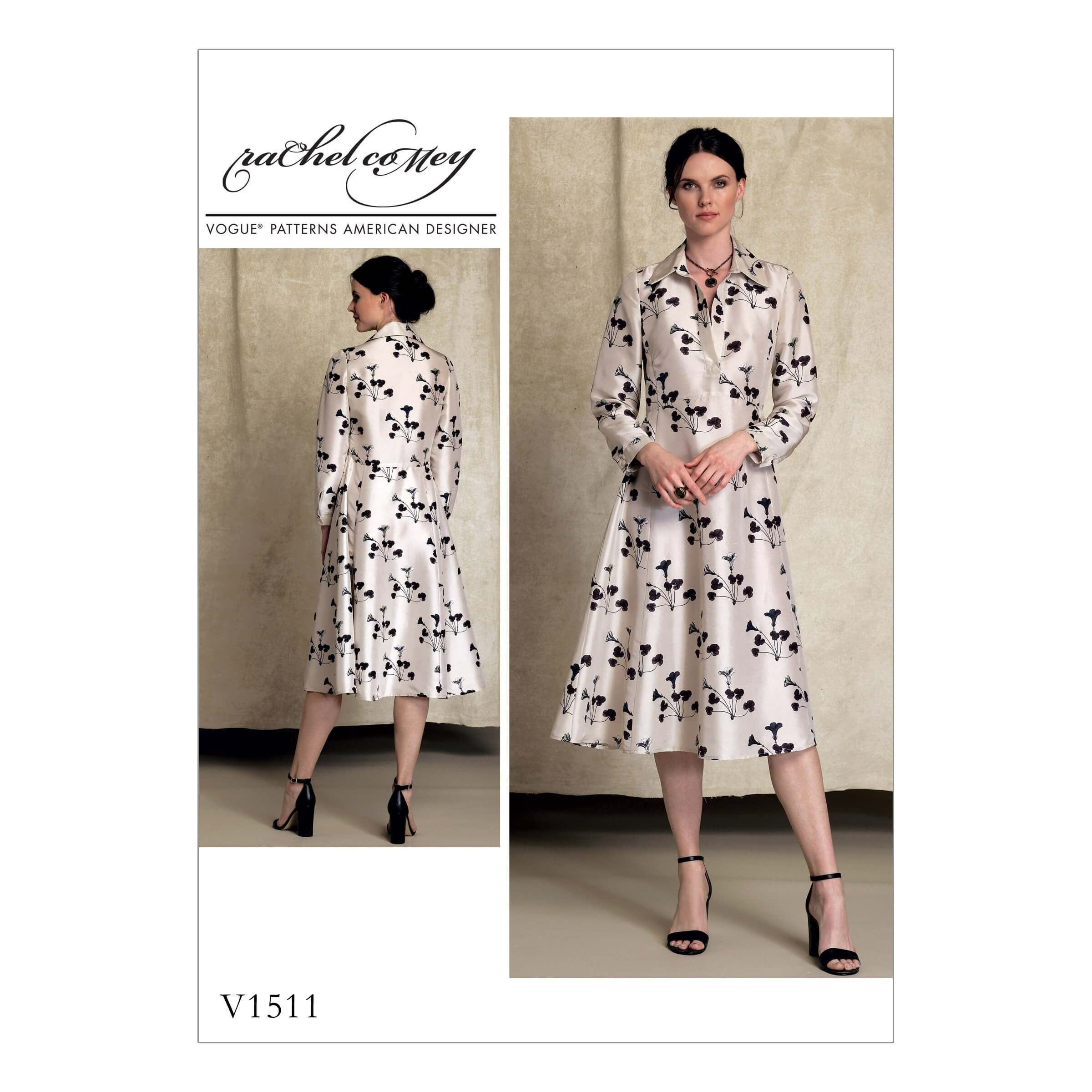 Vogue Sewing Pattern V1511 Women's Long Sleeved Shirt Dress Half Placket
