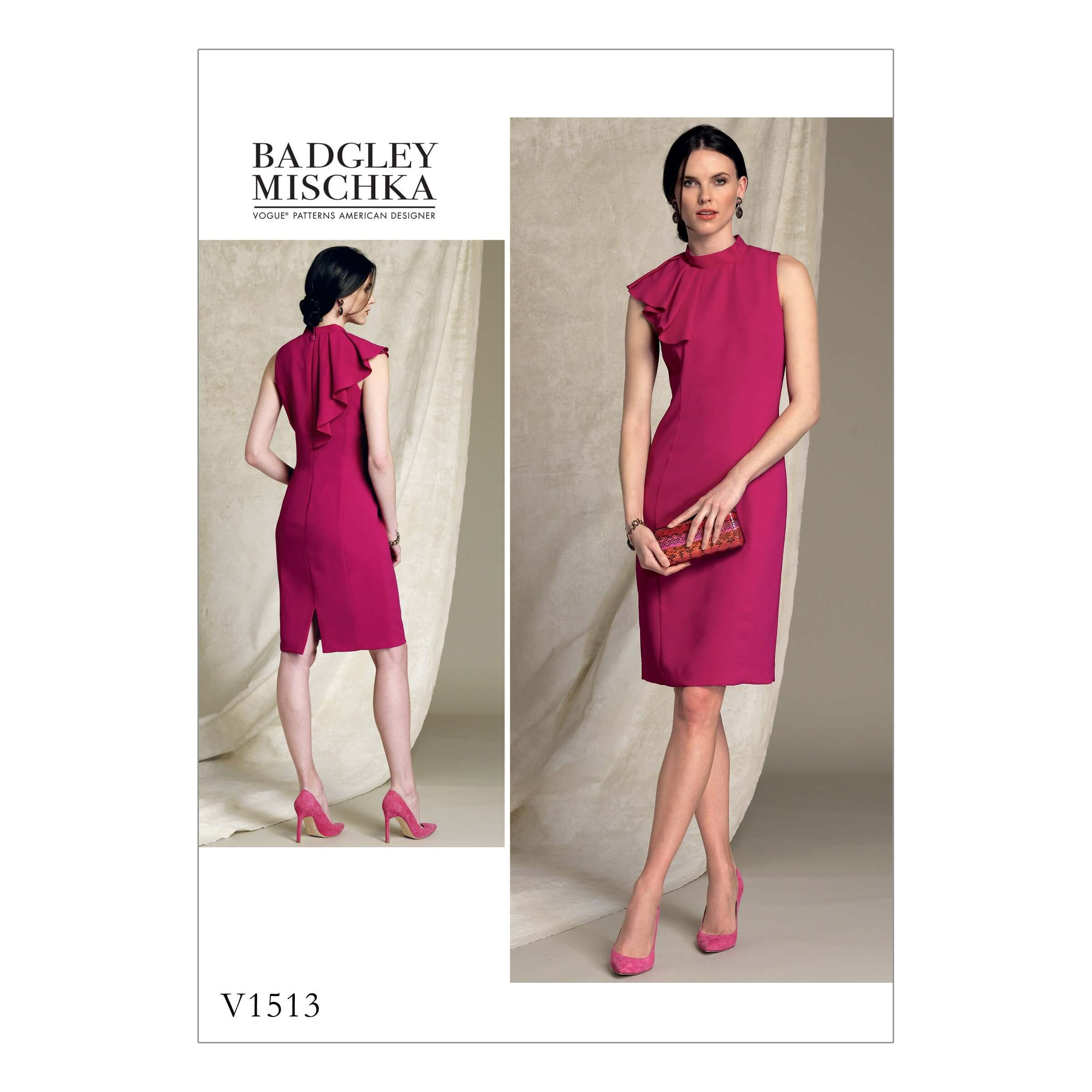 Vogue Sewing Pattern V1513 Women's Shoulder Ruffle Detail Dress