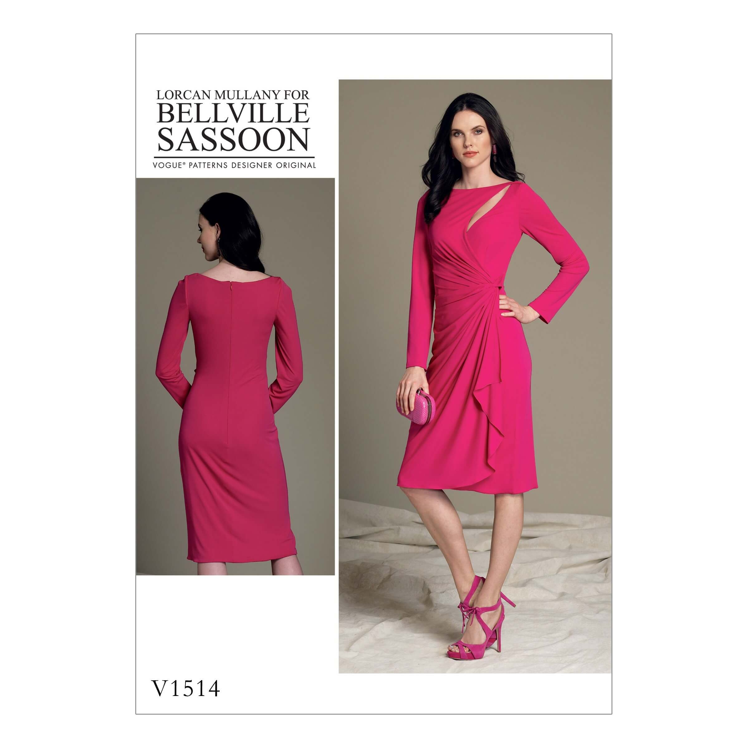 Vogue Sewing Pattern V1514 Women's Mock Wrap Cutout Dress