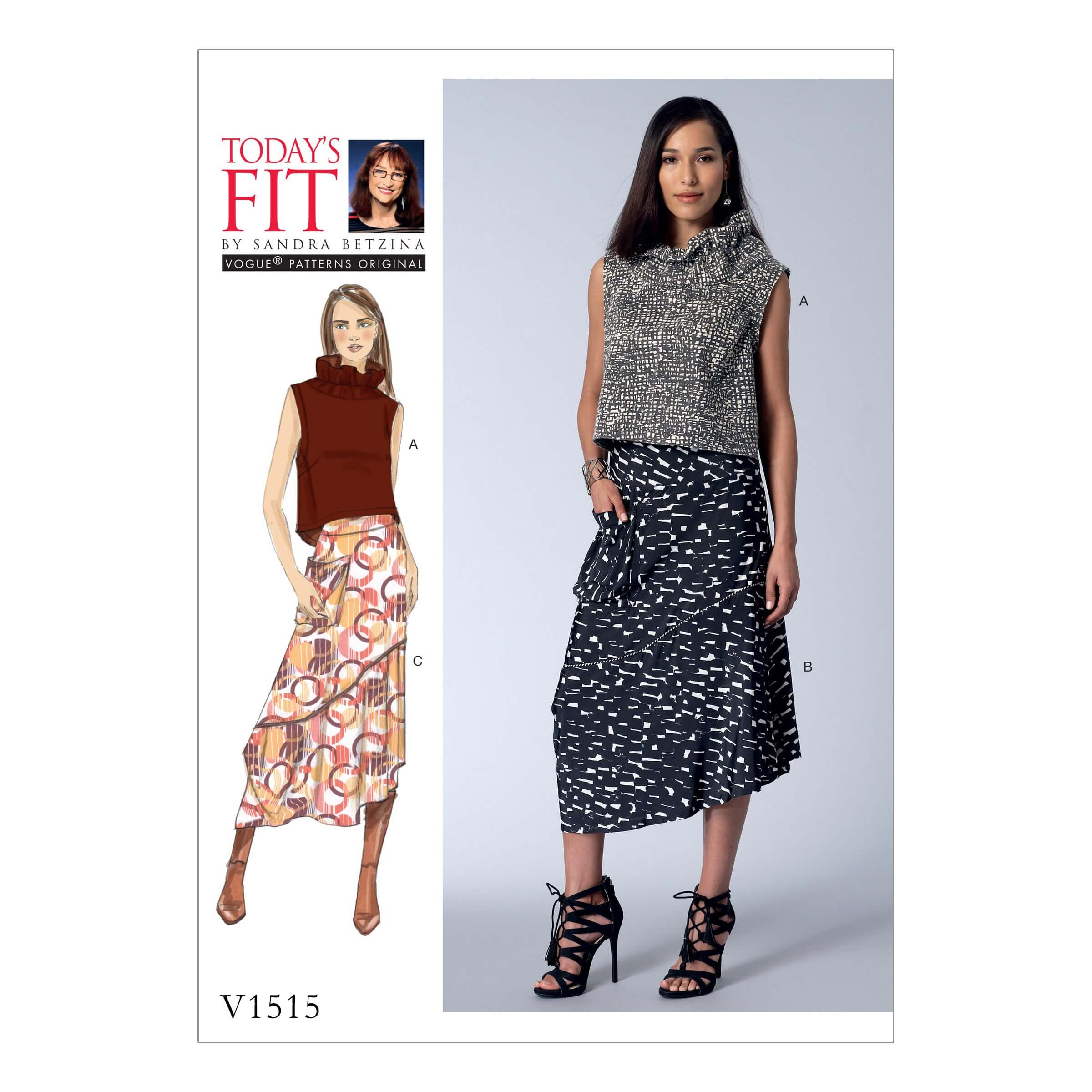 Vogue Sewing Pattern V1515 Women's Ruffle Neck Tops and Asymmetric Skirts