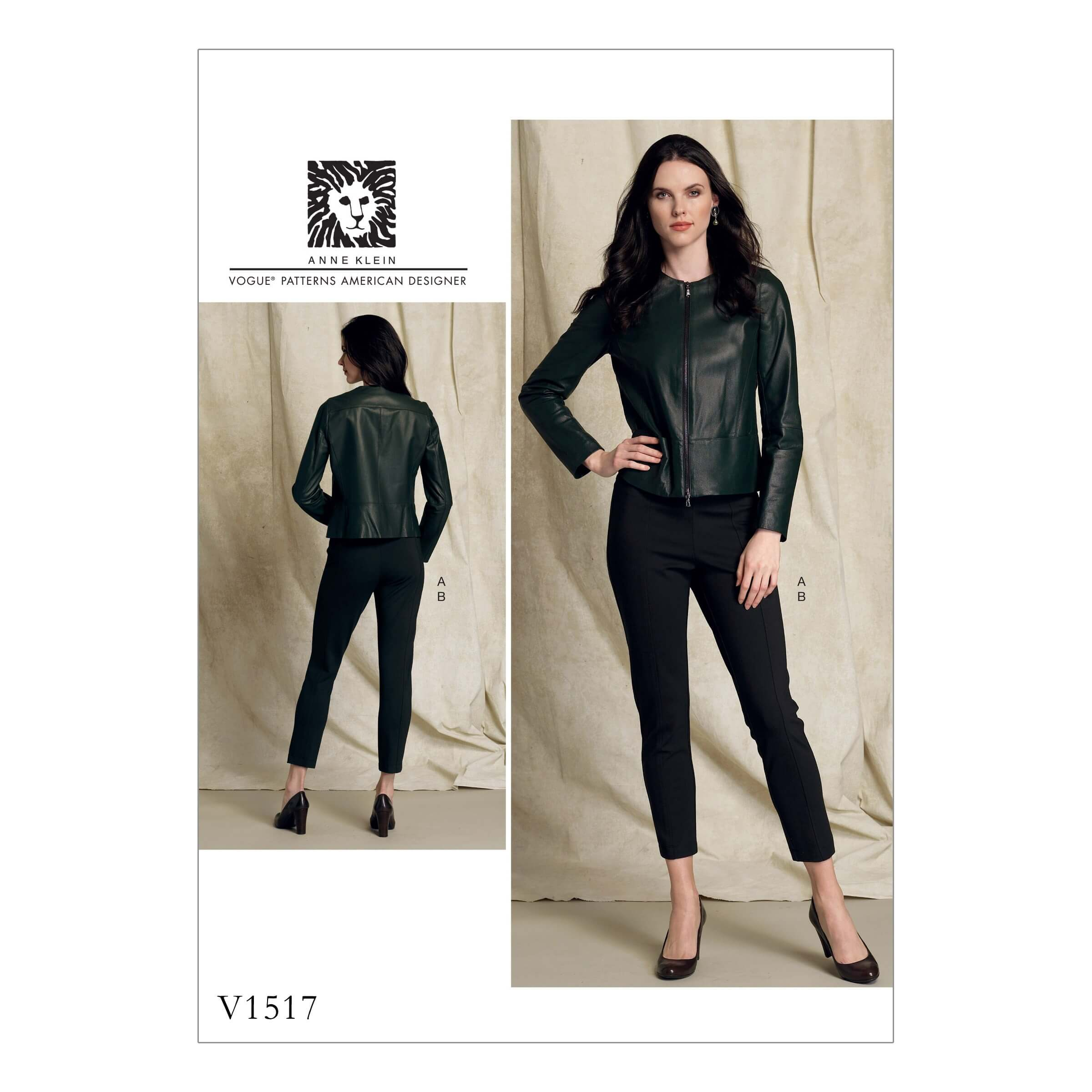 Vogue Sewing Pattern V1517 Women's Collarless Jacket and Pull On Slim Trousers
