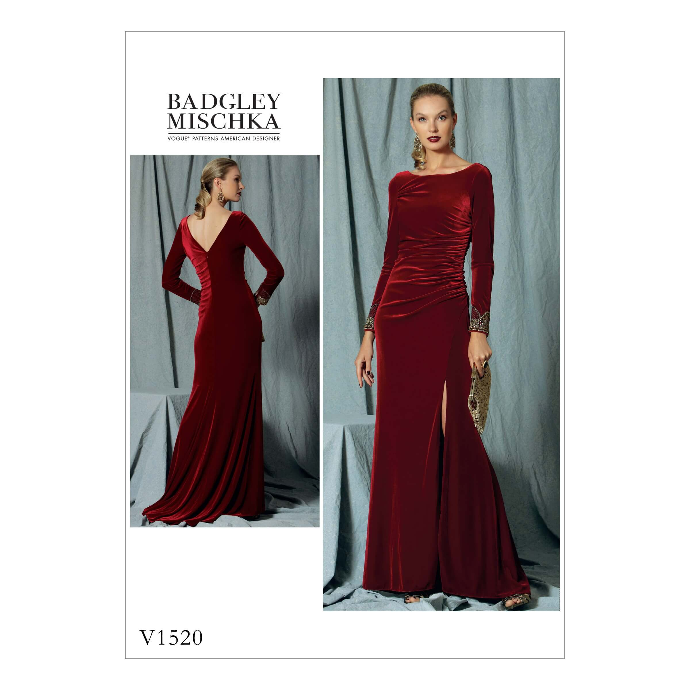 Vogue Sewing Pattern V1520 Women's Special Occasion Dress with Side Slit Skirt