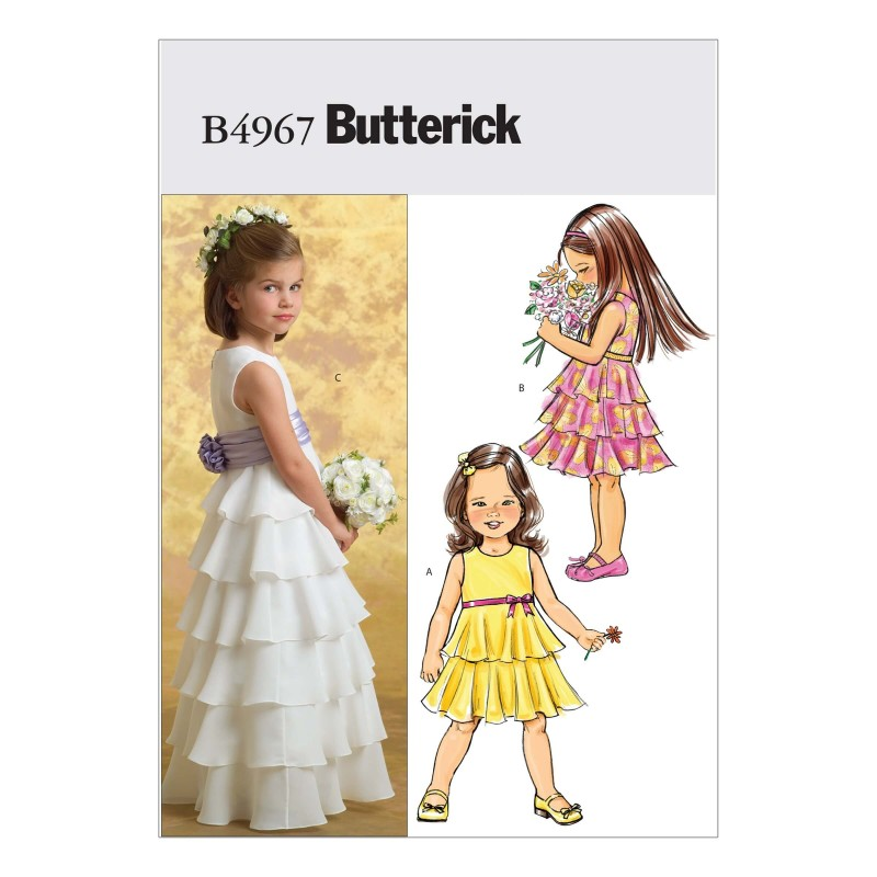 Butterick Sewing Pattern 4967 Girl's Dress & Cumberbund
