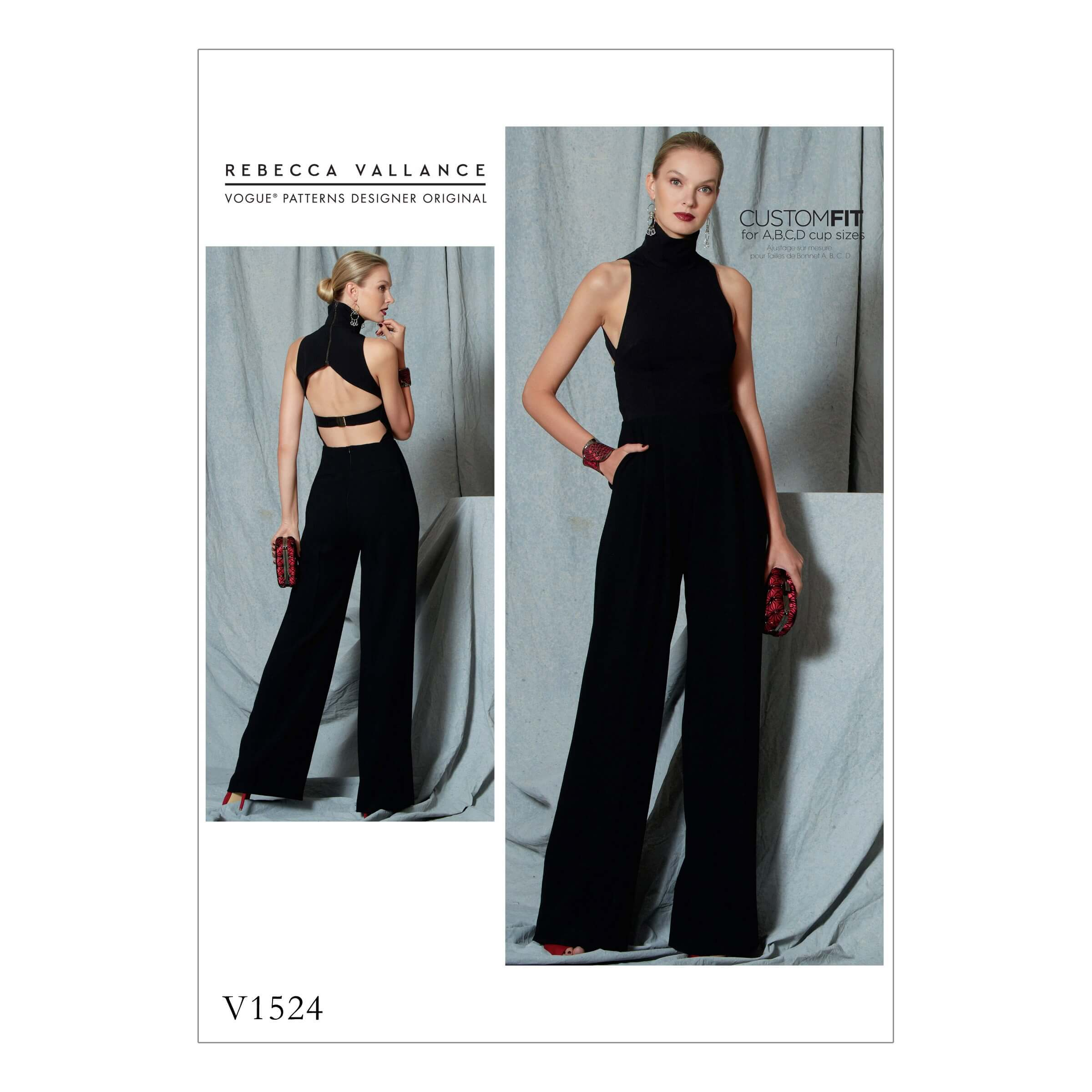 Vogue Sewing Pattern V1524 Women's Open Backed Belted Jumpsuit